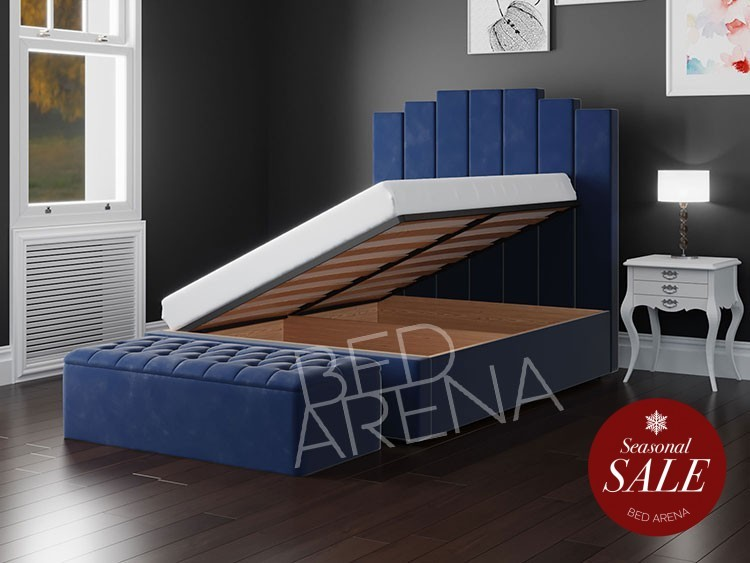 Blue Manhattan Ottoman Storage Bed