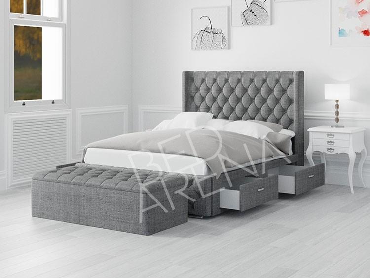Frankfurt Double Bed Light Grey