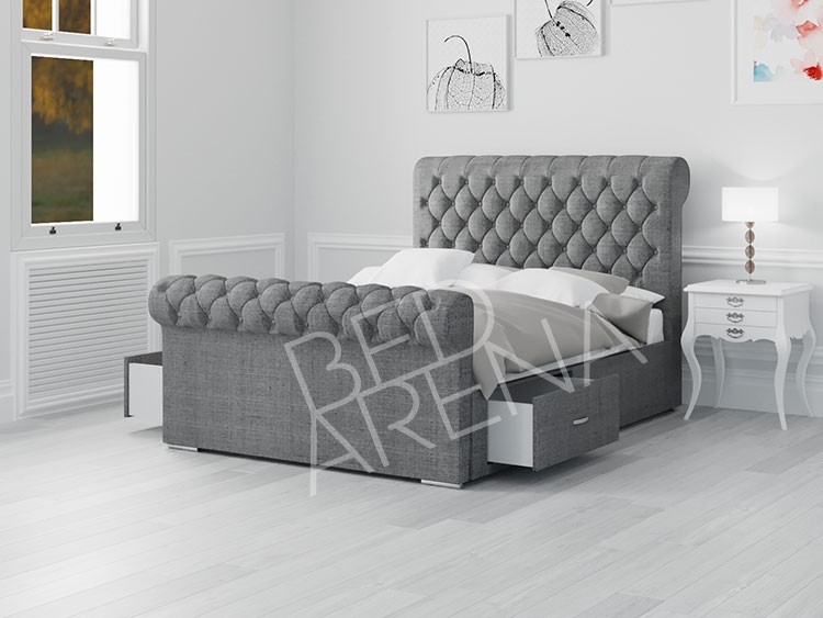 Toronto Super King Bed Light Grey Linen
