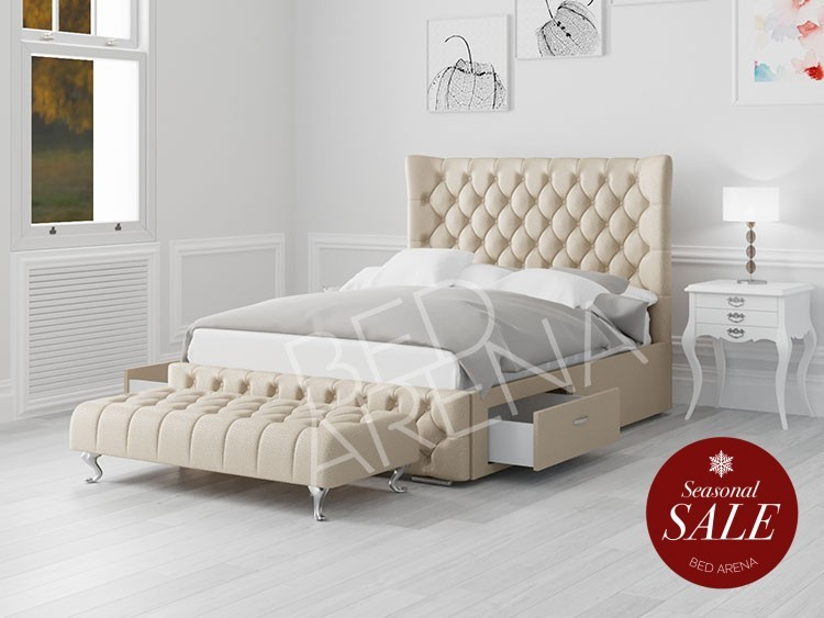 Cream Faux Leather Buckingham Super King Bed