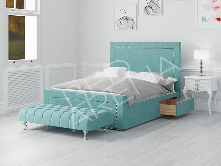 Calvin Super King Bed Teal