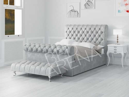 Toronto Bed - Ice Silver in Plush