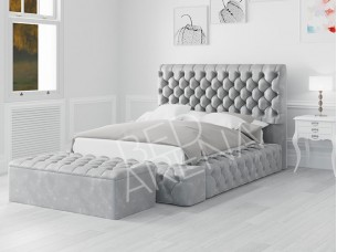 Empress Bed - Ice Silver in Plush