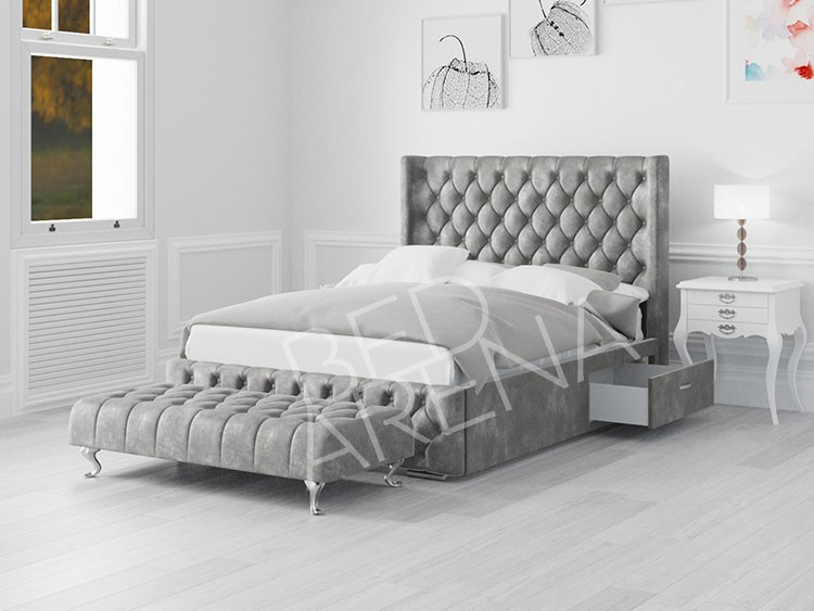 Frankfurt King Bed Silver Grey