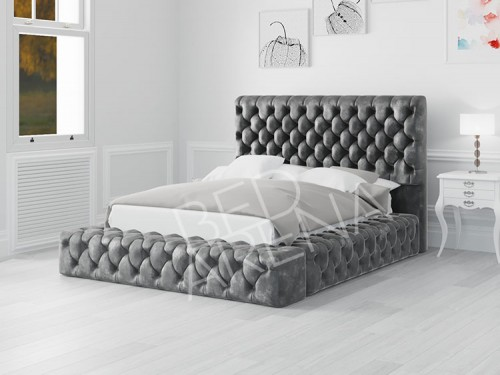 Empress Bed - Dark Silver in Plush