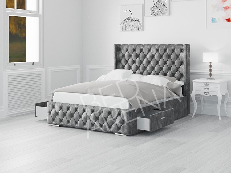 Frankfurt Single Bed Dark silver/Grey