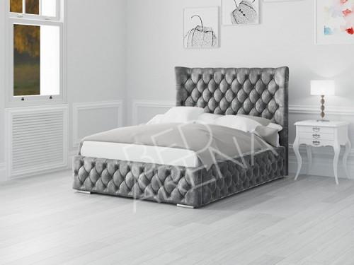 Buckingham Bed - dark Silver/grey in plush