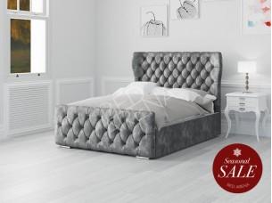 Westminster Bed dark Silver/grey Plush