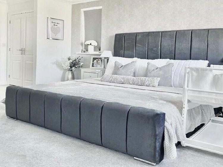 Pvc Bed: Venezia Ottoman Storage Bed In PVC Leather With Glitter Border