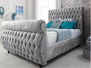 Boston Bed Frame in Crushed Velvet Fabric
