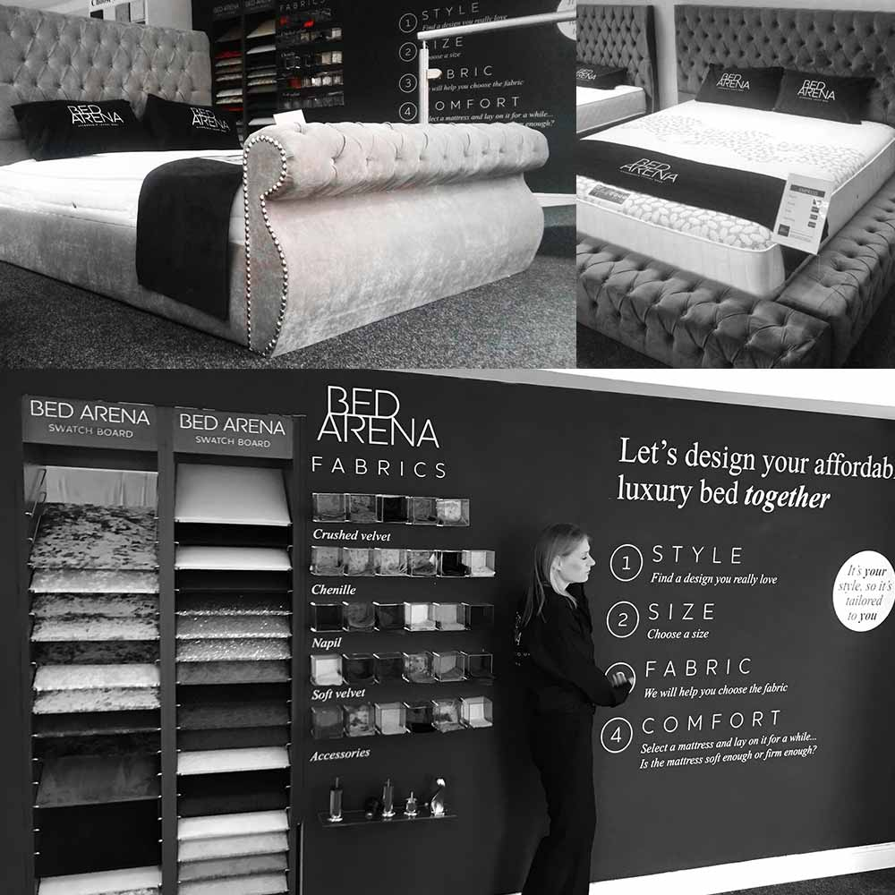 Collage of black and white images of the Bed Arena showroom